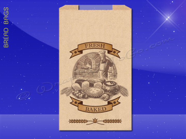 Bread Bags With Poly Panel - 8-1/2 x 4-1/2 x 24 - Printed Fresh Baked
