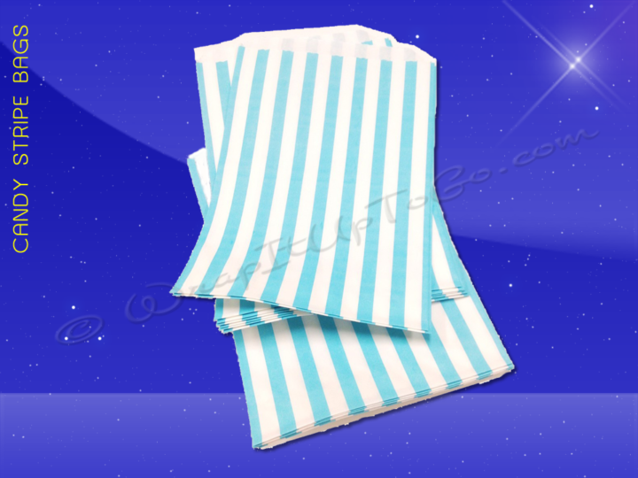 Candy Stripe Bags 10 x 14 - Aqua Stripes