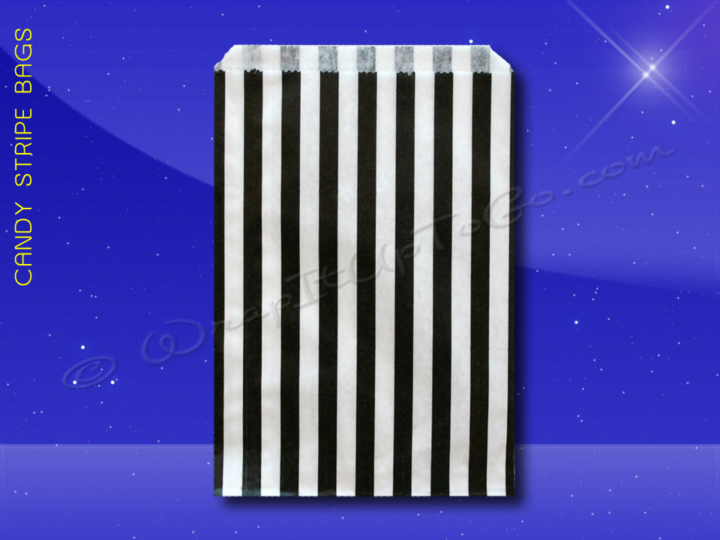Candy Stripe Bags 7 x 9 - Black Stripes