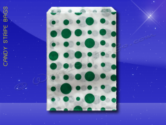 Candy Stripe Bags 10 x 14 - Green Dots
