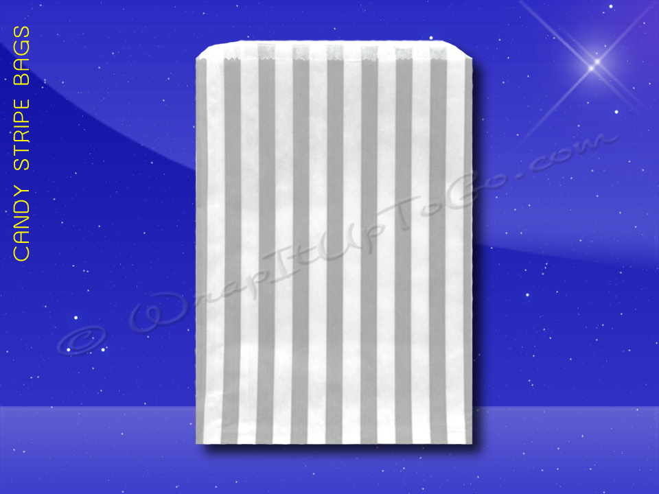 Candy Stripe Bags 5 x 7 - Grey Stripes