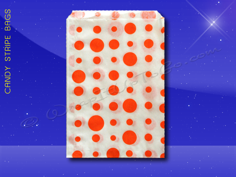 Candy Stripe Bags 10 x 14 - Orange Dots