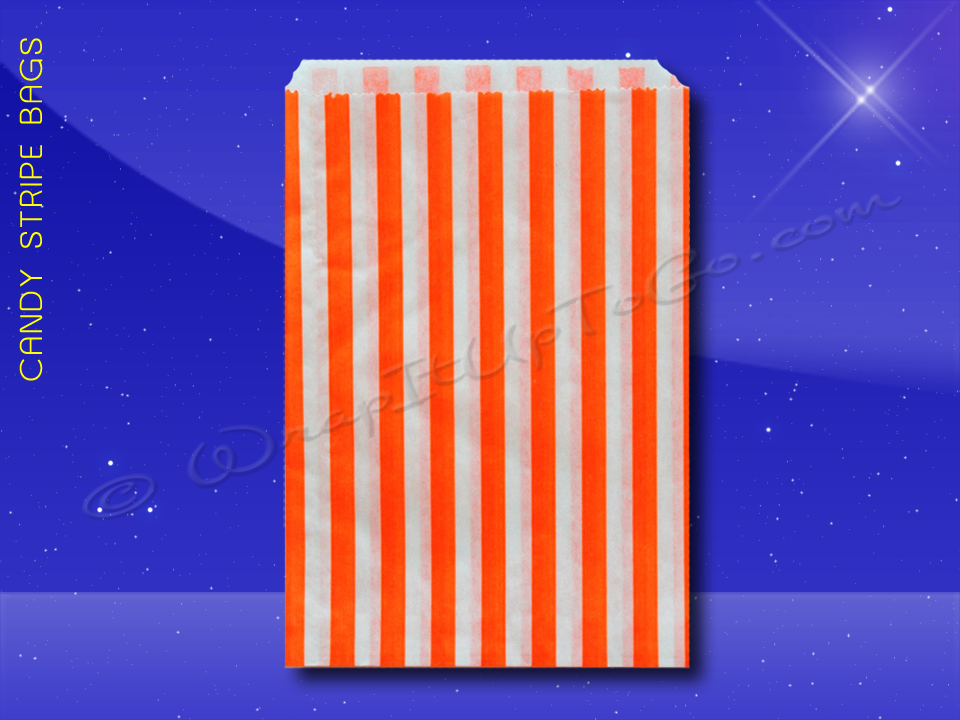 Candy Stripe Bags 5 x 7 - Orange Stripes