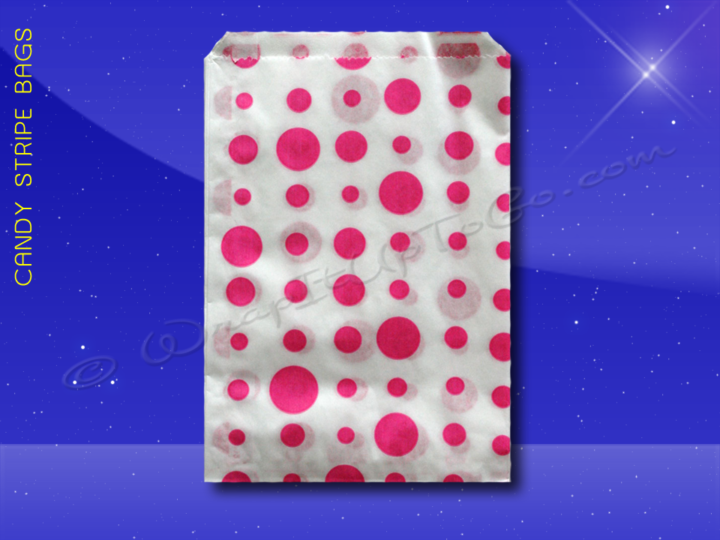 Candy Stripe Bags 7 x 9 - Pink Dots