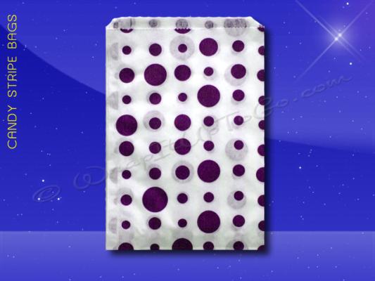 Candy Stripe Bags 10 x 14 - Purple Dots