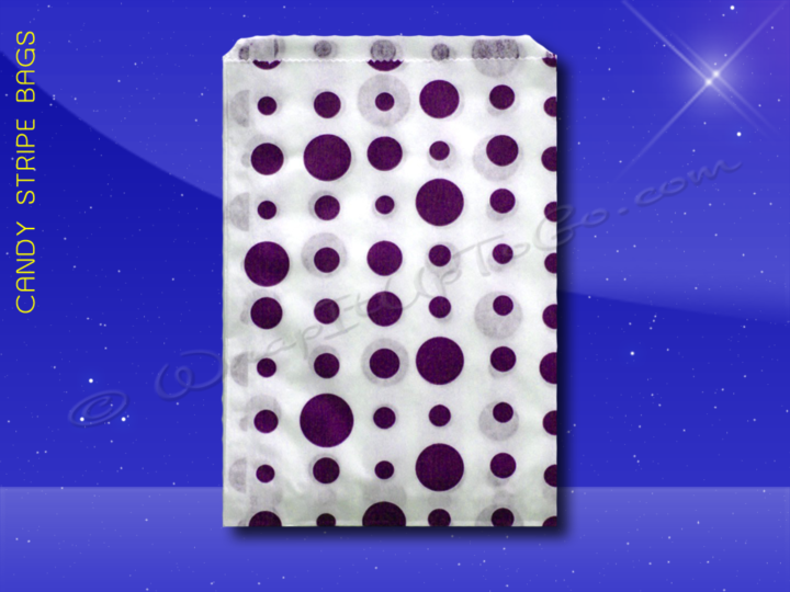 Candy Stripe Bags 7 x 9 - Purple Dots