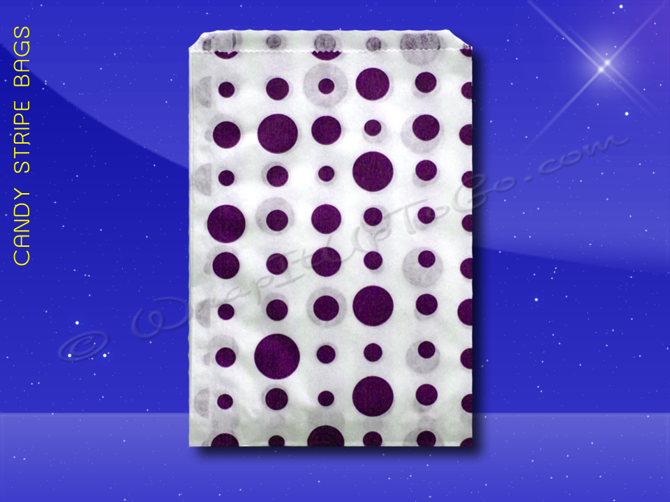Candy Stripe Bags 5 x 7 - Purple Dots
