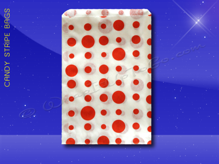 Candy Stripe Bags 7 x 9 - Red Dots