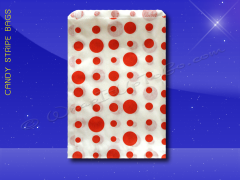 Candy Stripe Bags 5 x 7 - Red Dots