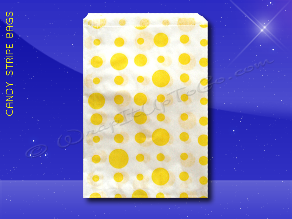 Candy Stripe Bags 10 x 14 - Yellow Dots