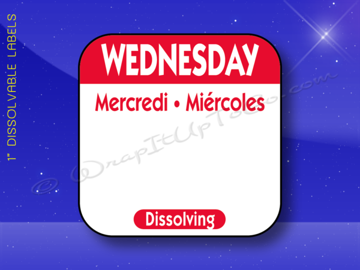 WEDNESDAY 1x1 Trilingual Dissolvable 1000 Labels per Roll