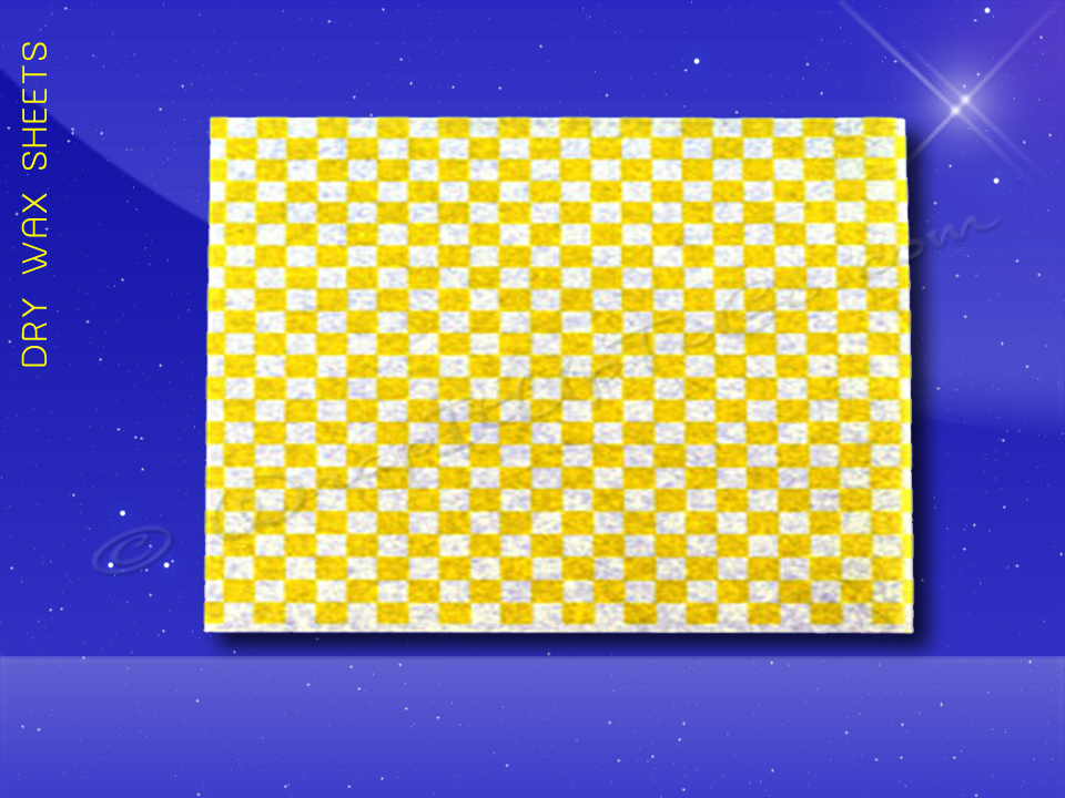 Dry Wax Sheets - 12 x 16 - Yellow Checkerboard