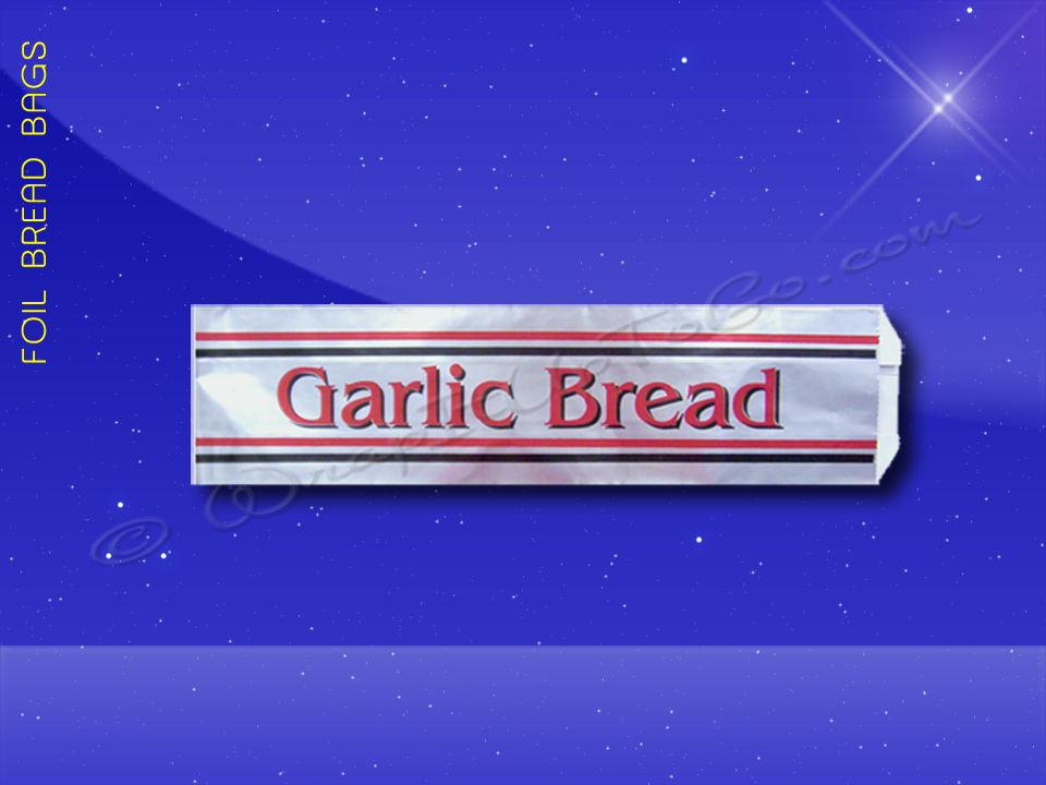 Foil Bread Bags - 5-1/4 x 3-1/4 x 20 - Printed Garlic Bread