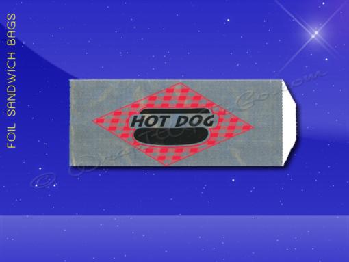 Foil Hot Dog Bags - 3-1/2 x 1-1/2 x 8-3/4 - Printed Hot Dog