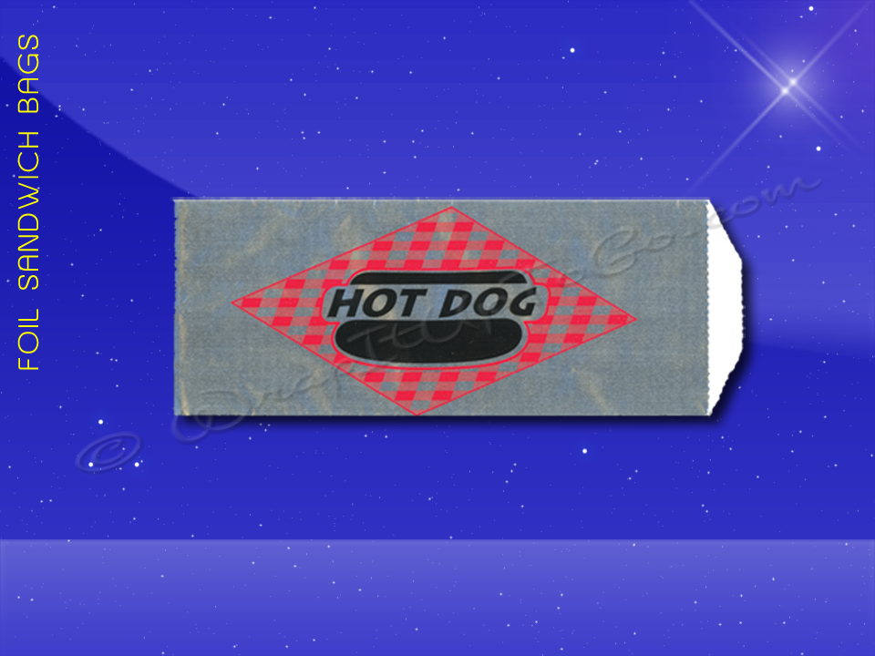Foil Hot Dog Bags - 3-1/2 x 1-1/2 x 8-3/4 - Printed Hot Dog