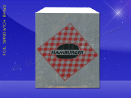 Foil Sandwich Bags - 6 x 3/4 x 6-1/2 - Printed Hamburger