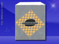 Foil Sandwich Bags - 6 x 3/4 x 6-1/2 - Printed Cheeseburger