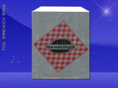 Foil Jumbo Sandwich Bags - 6-1/2 x 1-1/2 x 7-3/4 - Printed Hamburger