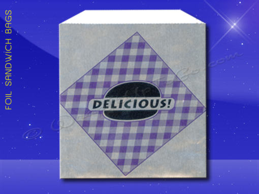Foil Jumbo Sandwich Bags - 6-1/2 x 1-1/2 x 7-3/4 - Printed Delicious