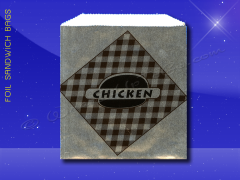 Foil Sandwich Bags - 6 x 3/4 x 6-1/2 - Printed Chicken
