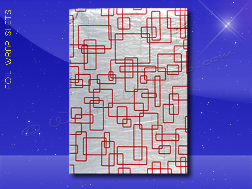 Foil Wrap Sheets - 10-1/2 x 13 - Red Pattern