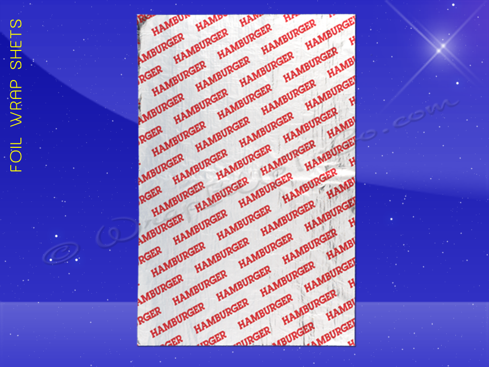 Foil Wrap Sheets – 10-1/2 x 14 – Printed Hamburger 1