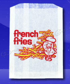 French Fry Bags - 5-1/2 x 1 x 8 - Printed French Fries