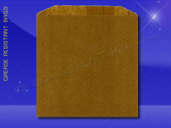 Grease Resistant Sandwich Bags - 6 x 3/4 x 6-1/2 - Natural Kraft (brown)