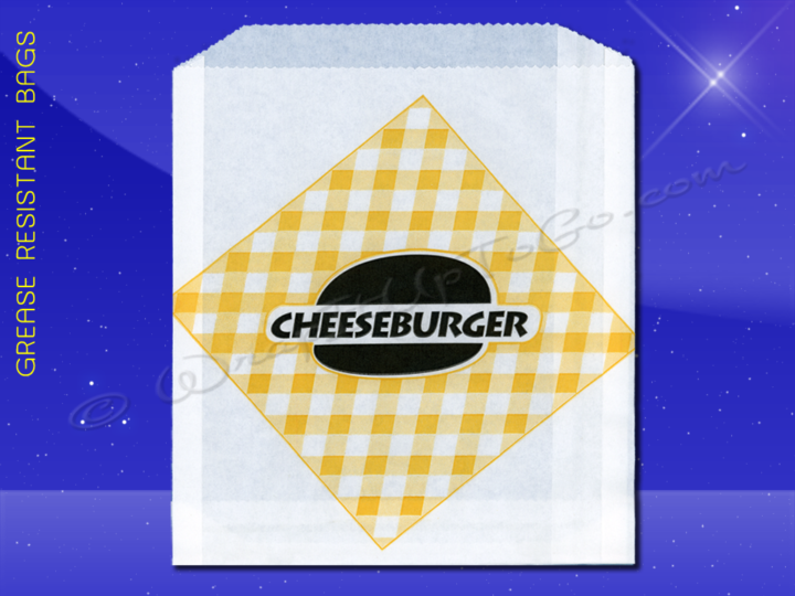 Grease Resistant Sandwich Bags - 6 x 3/4 x 6-1/2 - Printed Cheeseburger