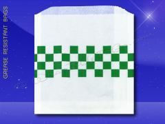 Grease Resistant Sandwich Bags - 6 x 3/4 x 6-1/2 - Green Checkboard