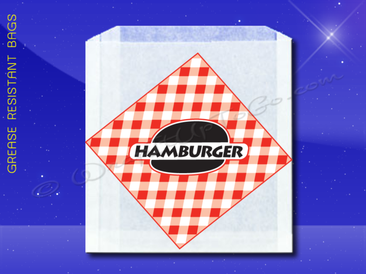 Grease Resistant Sandwich Bags - 6 x 3/4 x 6-1/'2 - Printed Hamburger