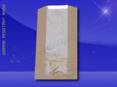 Grease Resistant Bag with Window Panel 5-1/2 x 2 x 10 - Natural Kraft (brown)