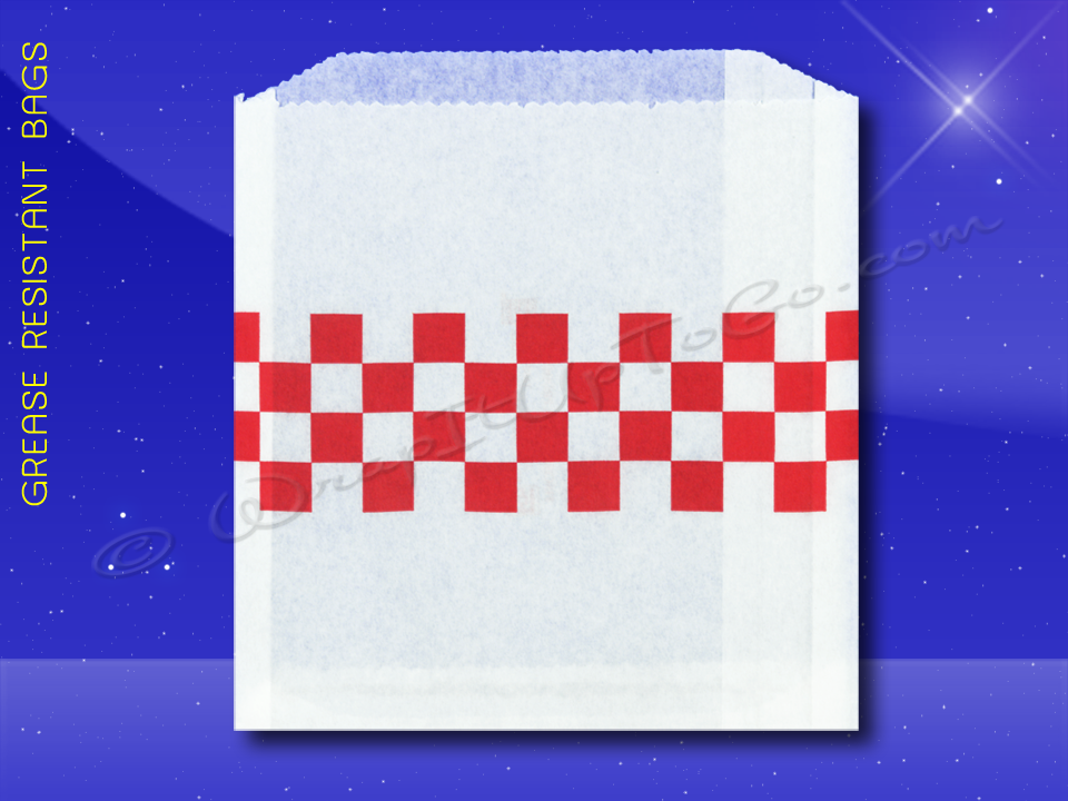 Grease Resistant Sandwich Bags - 6 x 3/4 x 6-1/2 - Red Checkerboard