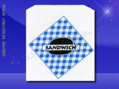 Grease Resistant Sandwich Bags - 6 x 3/4 x 6-1/2 - Printed Sandwich