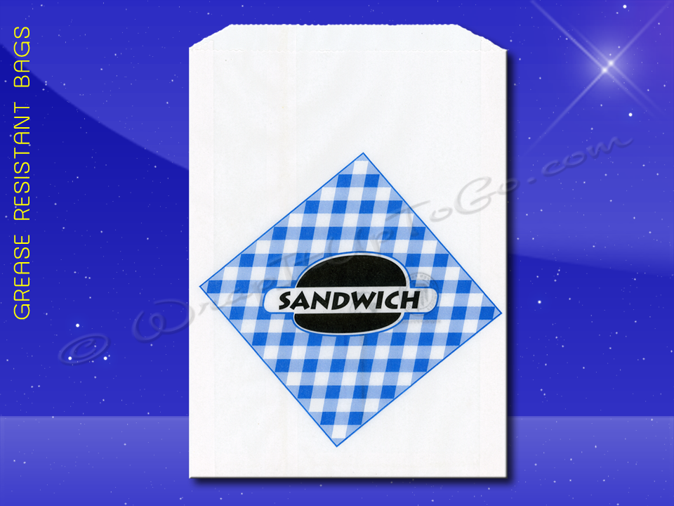 Grease Resistant Extra Long Sandwich Bags - 6-3/4 x 3/4 x 8-1/2 - Printed Sandwich