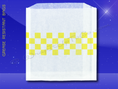 Grease Resistant Sandwich Bags - 6 x 3/4 x 6-1/2 - Yellow Checkerboard