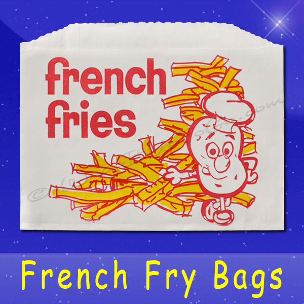 Fischer Paper Products 603-FF4 French Fry Bags 4-7/8 x 4 Printed French Fries