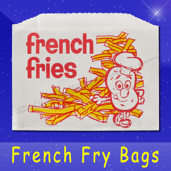 Fischer Paper Products 605 French Fry Bags 5-1/2 x 1 x 4 Printed French Fries