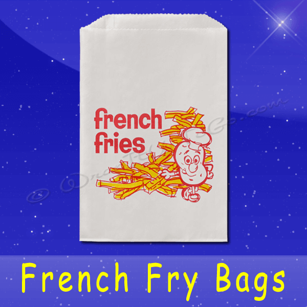 Fischer Paper Products 607-FF8 French Fry Bags 5-1/2 x 1 x 8 Printed French Fries