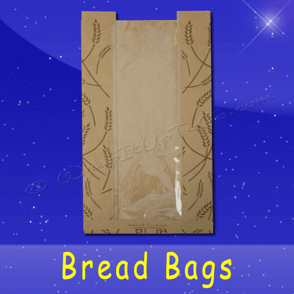 Fischer Paper Products BB-KP-14 Bread Bags With Poly Panel 8-1/2 x 4-1/2 x 14 Printed Fresh Baked