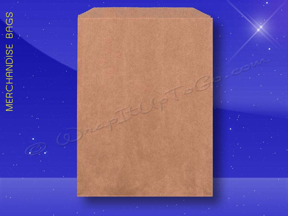 Fischer Paper Products 1716 Merchandise Bags Natural Kraft 7 1/2 x 10 Plain (brown)